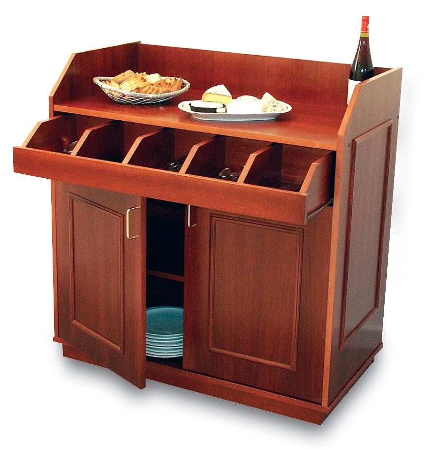 Desserte basse CRESSIDA sur roulettes avec 1 porte et 1 caisson
